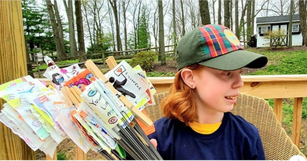 menina-de-11-anos-esta-espalhando-gentileza-pelas-ruas-com-suas-bandeiras-de-gratidao-aos-profissionais-de-saude