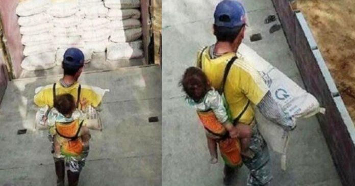 pai-viuvo-carrega-o-filho-nas-costas-enquanto-trabalha-na-construcao